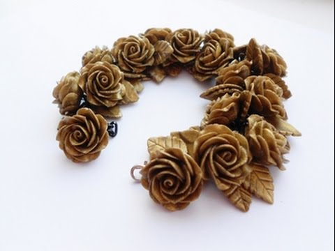 """Браслет """"Золотые розы"""" из полимерной глины, своими руками"""