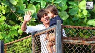Shah Rukh Khan And Son AbRam Khan Waving At Fans During EID | LehrenTV