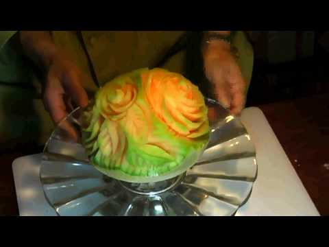 cantaloupe flowers fruit carving
