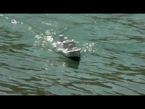 RC boat, my homemade card board ship. No.19  in Akikawa riv. 1st/May 2010