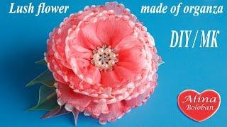 Пышный цветок из органзы. Мастер класс / Lush flower made of organza DIY
