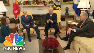 Watch Trump, Pelosi, & Schumer Clash Over Border Wall Funding In Heated Office Meeting | NBC News - NBCNEWS