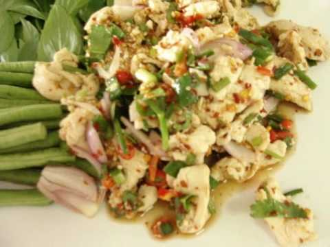 THAI FOOD COOKING LAAB GAI CHICKEN IN SPICY AND SOUR SALAD 