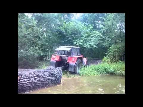 Zrywka Drzewa 2014 (część 2) Zetor 12145 & głęboka rzeka (Engine sound)
