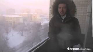 Boiling water freezes instantaneously in Siberia as temperatures dip below minus 40 degrees Celsius. Rough Cut (no reporter narration).