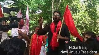 N sai Balaji New Jnu president addressing students after winning - ITVNEWSINDIA