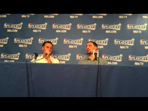 Stephen Curry gives Klay Thompson a hard time