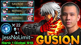 SAVAGE & MANIAC! Gusion 22 Kills with Vengeance META - Top 1 Global Gusion S13 by JessNoLimit - MLBB