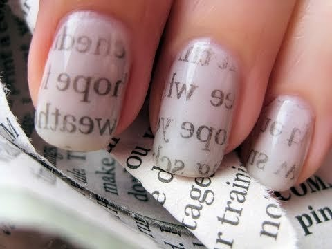Newspaper nail art - Σχέδιο στα νύχια με εφημερίδα
