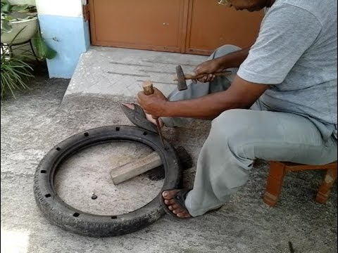 Reusing motorcycle tyre as tree pot
