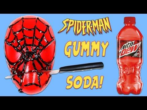 How to Make Marvel Spiderman Gummy Soda DIY Jello Dessert with Mountain Dew Code Red!