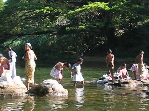 Sri Lanka | Washing Clothes in the River | Beautiful Hair | March 2004