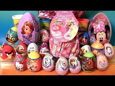 Giant Princess Kinder Surprise Eggs Disney Frozen Elsa Anna Minnie Mickey PlayDoh Huevos Sorpresa