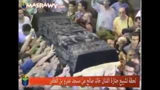 لحظة تشييع جنازة الفنان خالد صالح من مسجد عمرو بن العاص