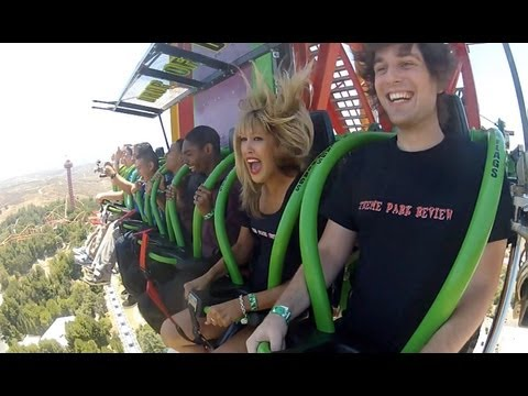 Lex Luthor Drop Of Doom World s Tallest Drop Ride Rider POV Six Flags Magic Mountain