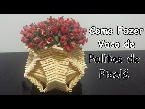 Como Fazer um Vaso com Palitos de Picolé