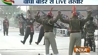 Live: Parade at Wagah Border (The true feeling for the Nation comes from here ) - INDIATV