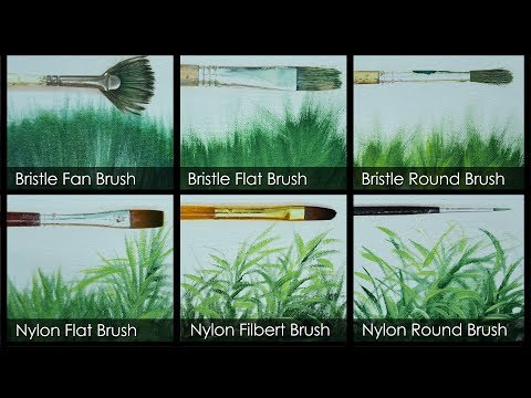 painting grasses using different brushes in acrylic