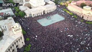 RAW: Drone captures mass protest in Yerevan as Armenian PM resigns - RUSSIATODAY