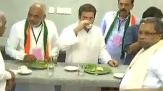Rahul Gandhi takes a break at Indira Canteen after roadshow in Karnataka's Hassan - TIMESOFINDIACHANNEL