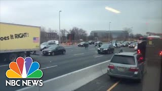 Watch Drivers Grab Money Off N.J. Highway As Brink Truck Spills Cash On Route 3 | NBC News - NBCNEWS