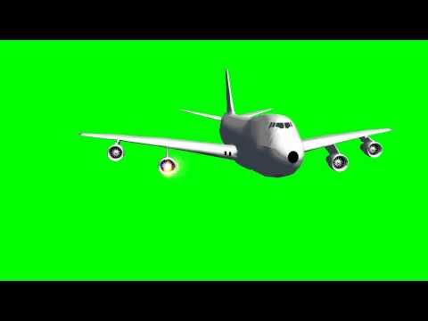 Green Screen AIRPLANE AIRBUS with ENGINE ON FIRE