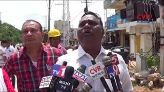 GHMC Officers Demolish Constructions on Footpath | Malkajgiri | CVR News - CVRNEWSOFFICIAL