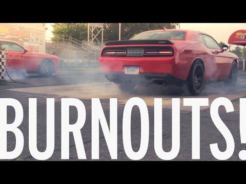 1414 Horsepower! Twin 2015 Dodge Challenger SRT Hellcat Burnouts!