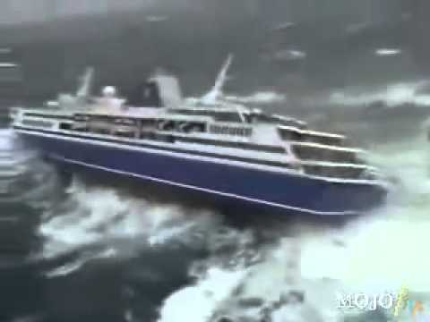 1000 Passenger Cruise Ship almost Down by the Tsunami