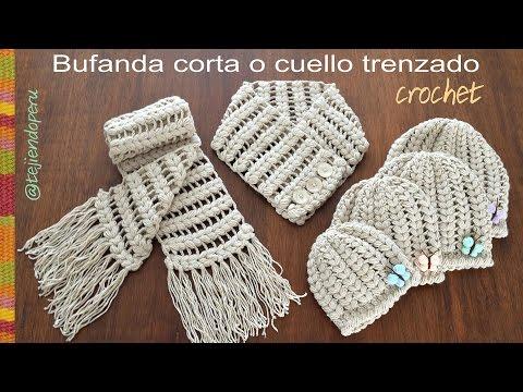 Bufanda corta o cuello trenzado tejido a crochet- Tejiendo Perú