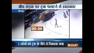 Speeding truck over turns in Jodhpur, incident caught on camera - INDIATV