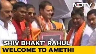 """Shiva Devotee"" Rahul Gandhi Gets A Bol Bam Welcome In Amethi - NDTV"