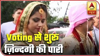 Newly weds reach polling bath to cast vote in J&K's Udhampur - ABPNEWSTV