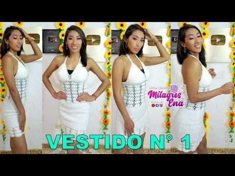 VESTIDO A CROCHET PARA MUJER PASO A PASO en español con punto abanicos y garbanzos
