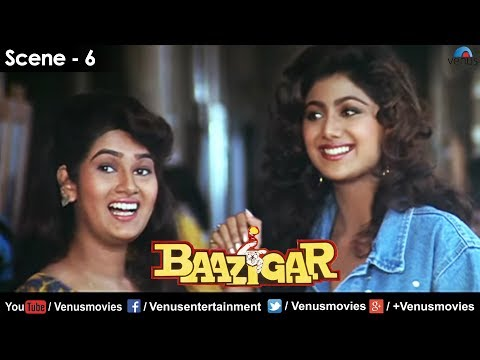 Shilpa Shetty meets her friend (Resham Tipnis) at college (Baazigar)