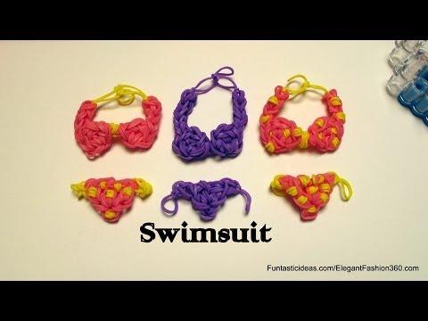 Rainbow Loom swimsuit/Bikini charm emoji/emoticon -How to -Swimming Design