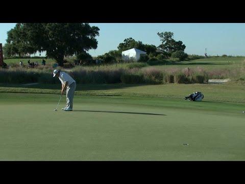 Andrew Svoboda holes a 29-foot birdie putt on No. 6 at McGladrey