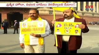 TDP MPs Protest at Parliament in Delhi over AP Special Status | CVR News - CVRNEWSOFFICIAL
