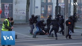 Police and 'Yellow Vests' Clash in Nantes - VOAVIDEO
