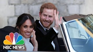 Prince Harry and Meghan Markle Head To Frogmore House In A Silver Blue Jaguar | NBC News - NBCNEWS
