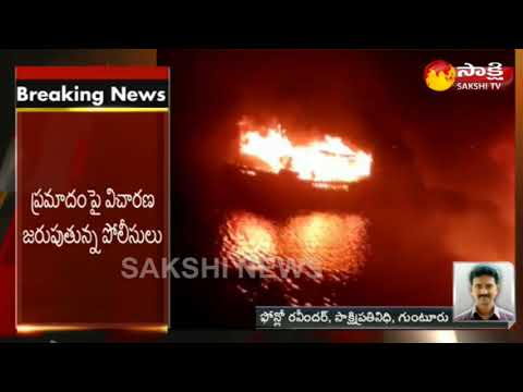 Two Boats Catches Fire at Nizampatnam Harbour in Guntur District