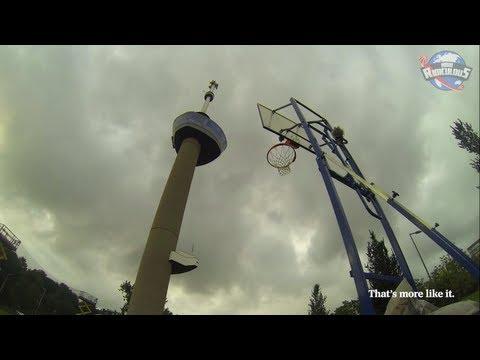 بالفيديو : هولندي يسجل هدفاً بكرة السلة من برج طوله 98 متراً