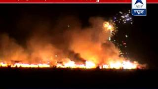 Fire at cracker market in Faridabad l Over 200 shops gutted l Fire tenders working hard - ABPNEWSTV
