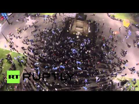 UK: Watch drone catch Yes crowd gathered in Glasgow's George Square
