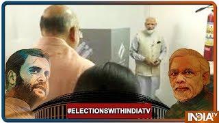 Lok Sabha Elections 2019: थोड़ी देर में रानिप बूथ में वोट डालेंगे PM Modi, Open Jeep से पहुंचे - INDIATV