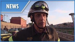 Genoa Firefighters on Morandi bridge rescue effort - THESUNNEWSPAPER