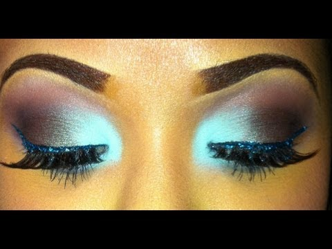 Aqua Smokey Eye with Glitter!