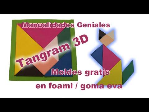 Manualidades en foami TANGRAM 3D en foami goma eva Juegos de mesa Rompecabezas Puzzle