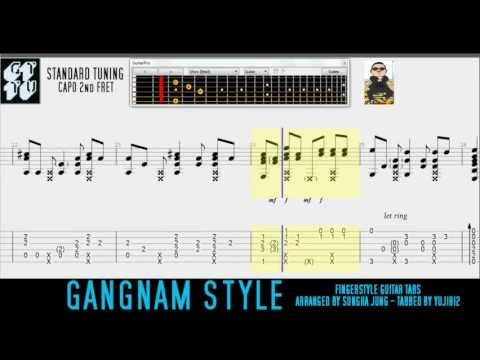 PSY GANGNAM STYLE Sungha Jung Acoustic Guitar Tutorial FREE TABS
