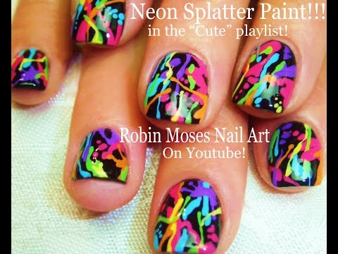 Indie Nail Art Rainbow Neon Splatter Paint